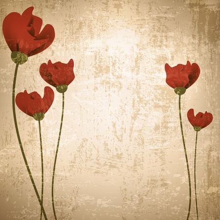 Vintage grunge floral background with red poppies Vector
