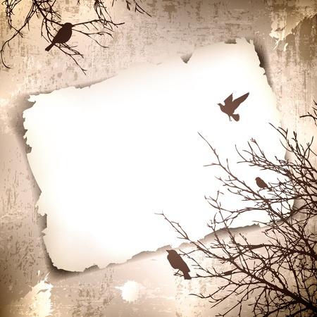 Fondo del grunge de la vendimia con las aves de primavera en los árboles y copyspace para el texto