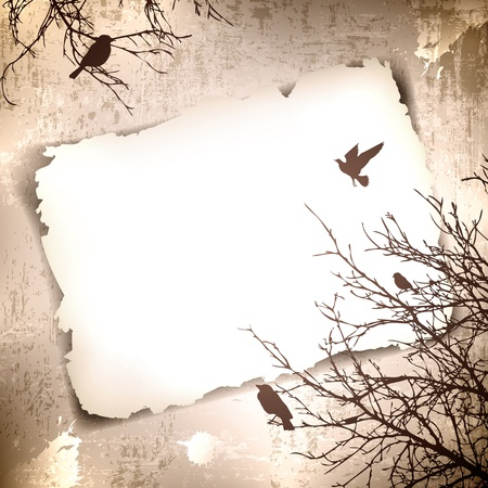 postcard background: Vintage grunge background with spring birds at tree and copyspace for your text