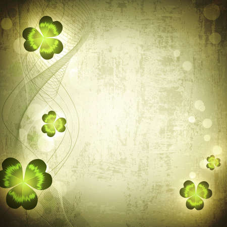 St.Patrick holiday Vintage grunge background with clover, copyspace Stock Vector - 12486552