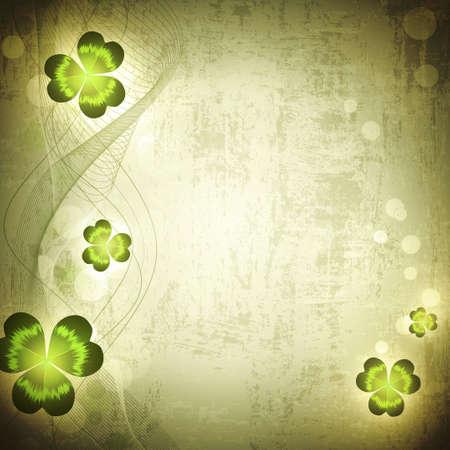 stpatrick: St.Patrick holiday Vintage grunge background with clover, copyspace