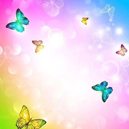 blinking: fondo brillante con la mariposa Vectores