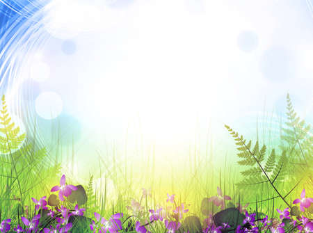 blinking: summer meadow with viola flowers over bright background Illustration