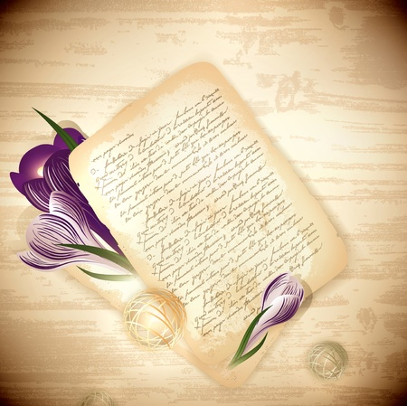 spring time: old letter with crocus flowers at wooden background