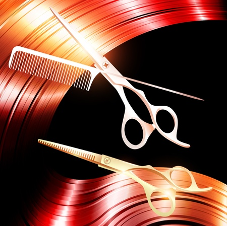 Hair and cutting scissors with metal pin tail comb Vector