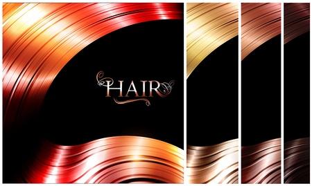 hair dressing: Hair palette banners over dark background