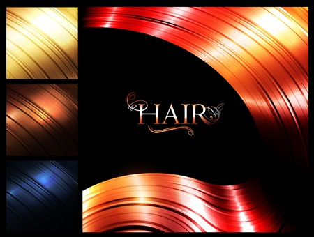 red hair beauty: Hair palette banners over dark background
