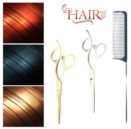 tijeras cortando: Cabello paleta de muestra y unas tijeras de corte con peine con mango de metal pin