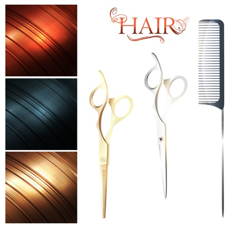 Hair sample palette and cutting scissors with metal pin tail comb Vector