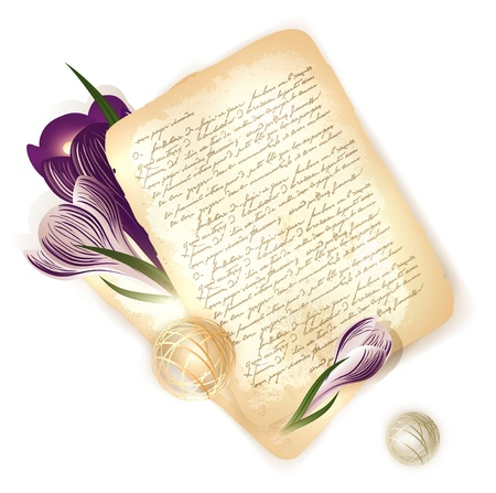 writing letter: old letter with crocus flowers at wooden background