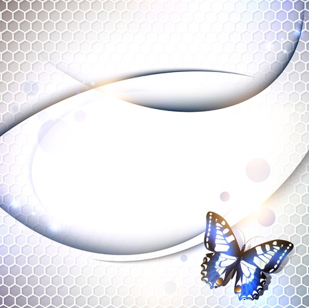 tech or industrial abstract grid background with butterfly, copyspace for your text Vector