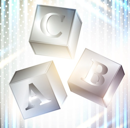 block letters: abc cubes over abstract bright background