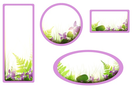 banners with viola flowers and meadow over white Stock Vector - 13513978