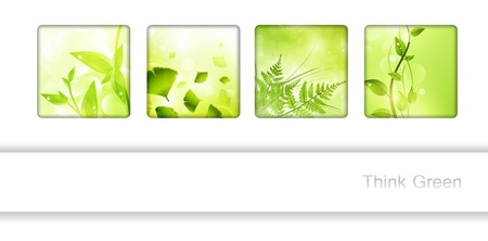 harmony nature: Eco frame collection with green leaves and copyspace for your text
