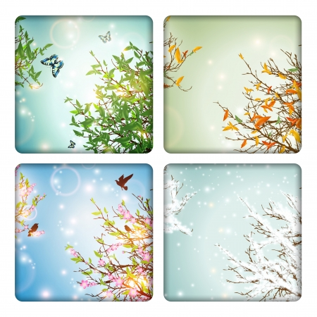 snow fall: Four Seasons: spring, summer, autumn and winter Illustration