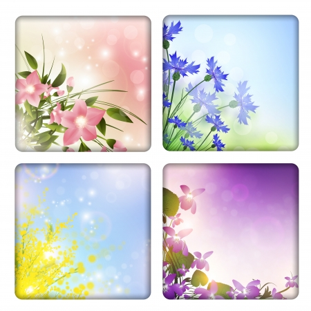 Collection with different flowers backgrounds Vector