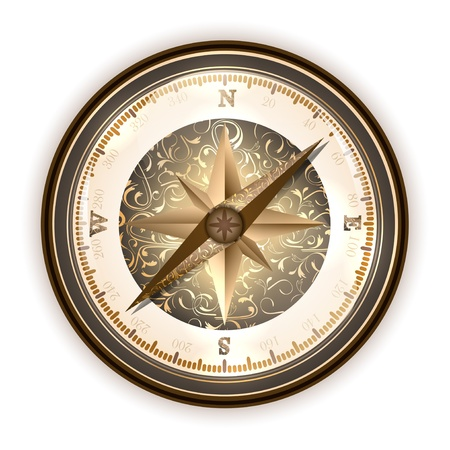 expedition:  Vintage antique compass over white