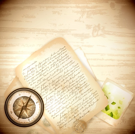 navigating:  Vintage antique compass with old photo and letter  over wooden background Illustration