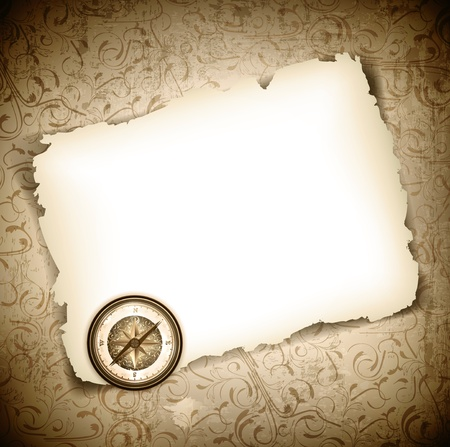 Vintage antique compass at burned paper over grunge background Stock Vector - 14008429