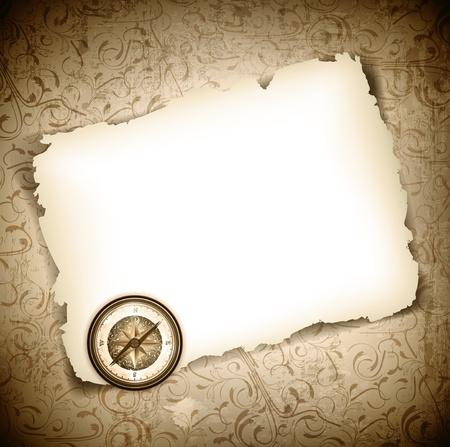 Vintage antique compass at burned paper over grunge background Stock Vector - 14008429