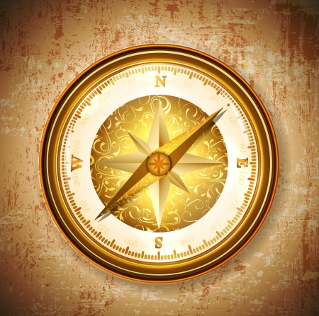 Vintage antique golden compass over grunge background Çizim