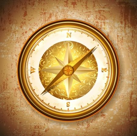Vintage antique golden compass over grunge background Illustration