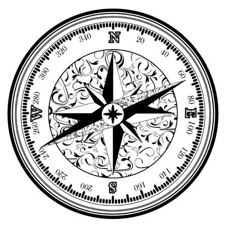 locate:  Vintage antique compass in black and white