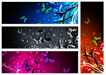 Butterfly floral multicolored banner collection over white Vector