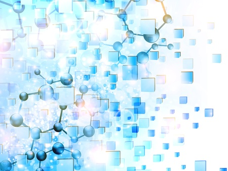 molecule illustration over abstract cubes background