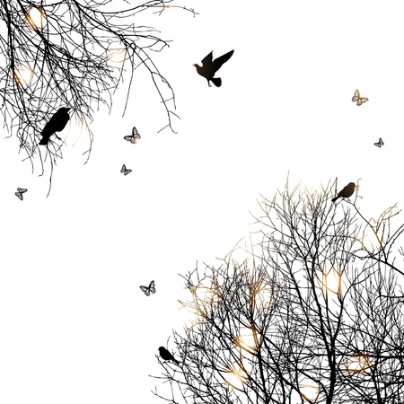 shrubs: silhouette of trees and birds, copyspace  Illustration