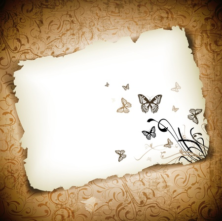 old fashioned: Butterflies with floral at burned paper over grunge background