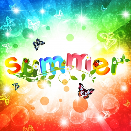 summer festival: Summer theme with floral over bright multicolored background Illustration