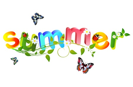 Summer theme with floral over white background Vector