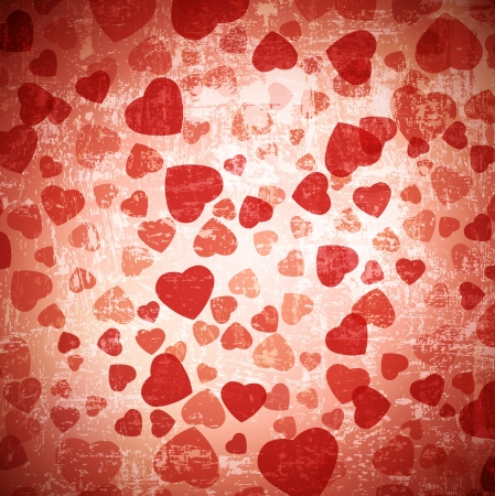abstract red heart grunge background Vector