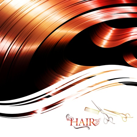 hair wavy frame with cutting scissors and metal pin tail comb  Vector