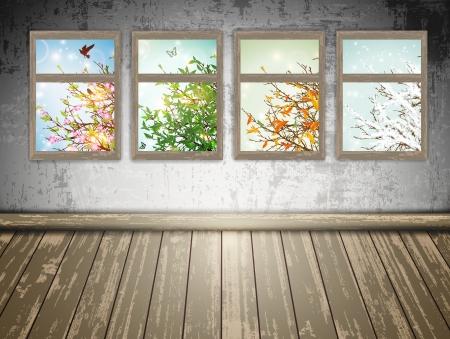 봄, 여름, 가을, 겨울 : 포시즌 창문 버려진 된 방