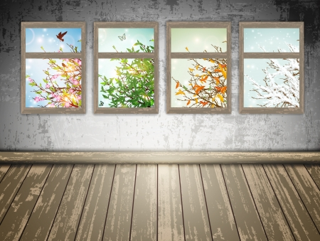 winter flower: abandoned room with a Four Season windows: spring, summer, autumn and winter
