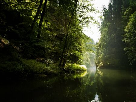 czech switzerland: il fiume tra le rocce nella foresta selvaggia (Ceca Svizzera)