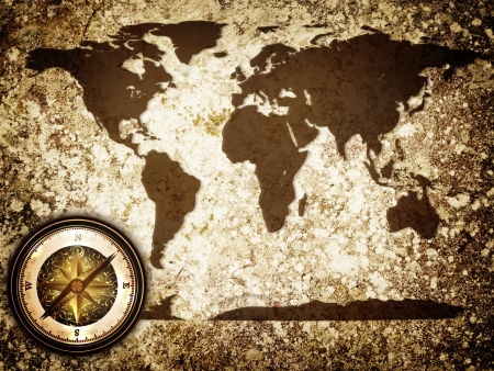 abstract vintage grunge travel background with world map and compass photo