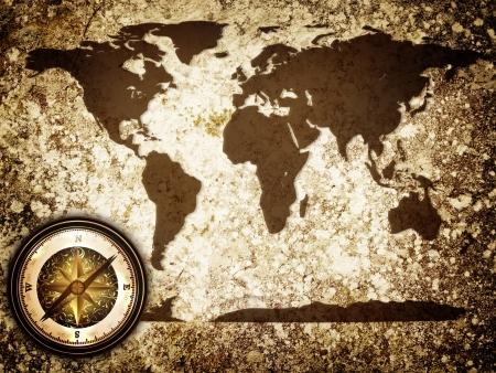 wall maps: abstracto grunge vintage background mundo viajan con mapa y br�jula Foto de archivo