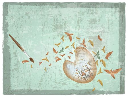 abstract autumn palette with paintbrush and yellow leaves over grunge background Vector