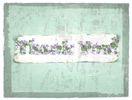 Thank you! Greeting card with violet flowers over grunge background Stock Vector - 14929649