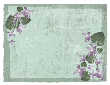 Vintage grunge floral background with wild violet flowers  Vector