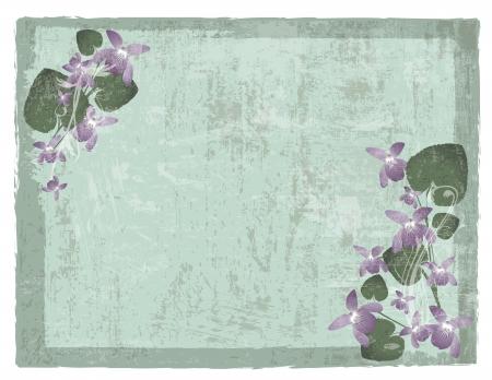 Vintage grunge floral background with wild violet flowers Stock Vector - 14929654