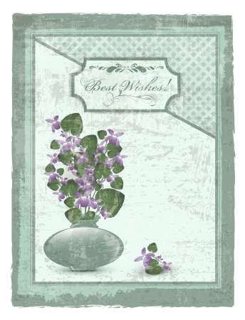 Best Wishes postcard with bunch of wild violet at grunge background Stock Vector - 14929648
