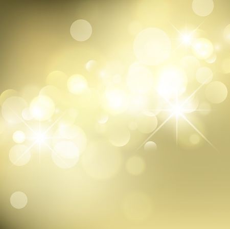 Abstract Golden Holiday Background With Lights and Stars  Illustration