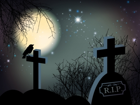 Night at Graveyard With Big Moon and Tombs Illustration