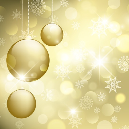 blinking: Merry Christmas and Happy New Year Golden Greeting Card Illustration