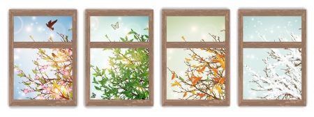wooden window: Four Season Windows: Spring, Summer, Autumn and Winter