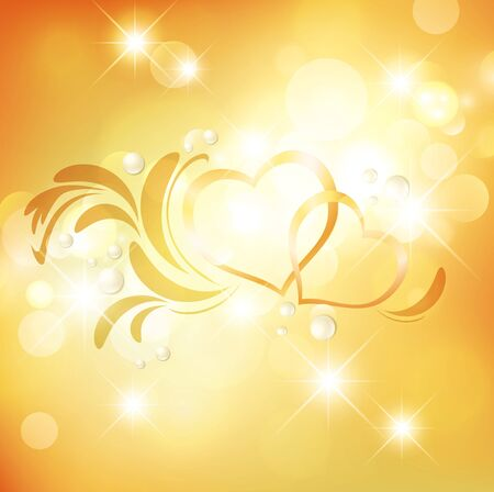 golden heart: Love Heart Wedding or Valentine Golden Background With Stars and Lights